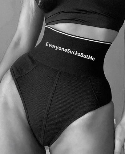 Black Letter Print Elaticband High Waist Pantie