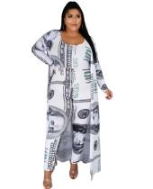 Plus Size Dollar Print Jumpsuit and Long Cardigan