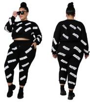 Plus Size Letter Print Black Crop Top & Pants Sweatsuit