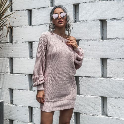Slash Neck Pink Bubble Sleeve Sweater Dress
