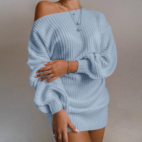 Slash Neck Blue Bubble Sleeve Sweater Dress