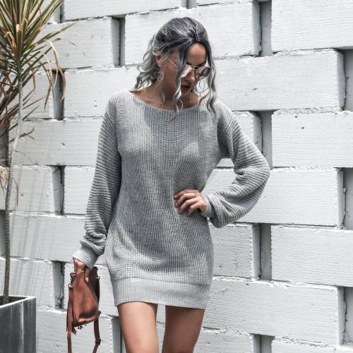 Slash Neck Gray Bubble Sleeve Sweater Dress