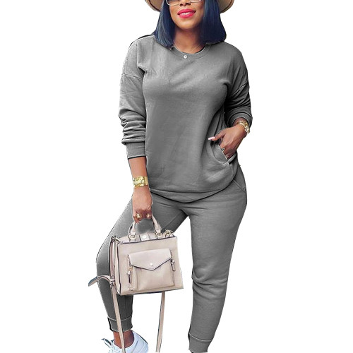Dark Gray Sweatshirt and Sweatpants Set