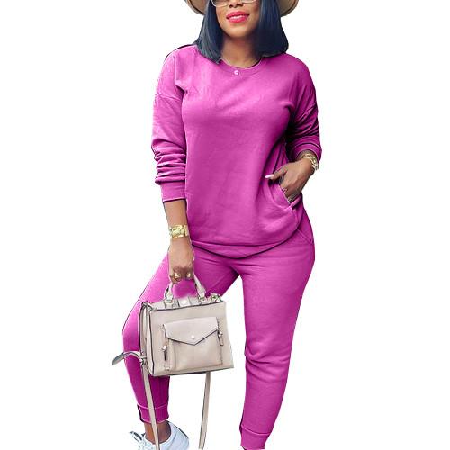 Hot Pink Sweatshirt and Sweatpants Set