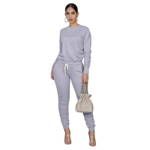Gray Long Sleeve Ruched Casual Top & Pants