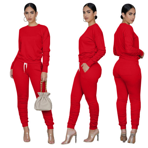 Red Long Sleeve Ruched Casual Top & Pants