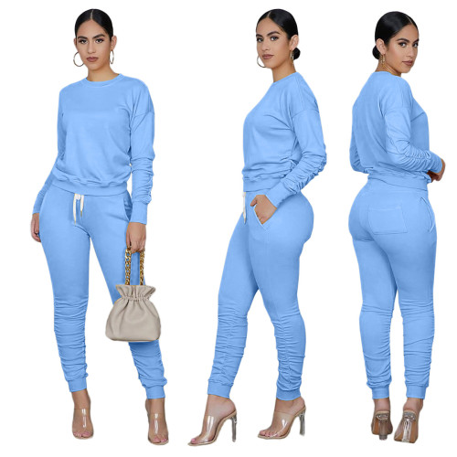 Light Blue Long Sleeve Ruched Casual Top & Pants