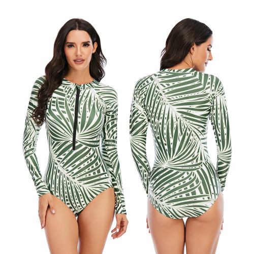 Green Leaf Print Surfing Long Sleeve One Piece Swimsuit
