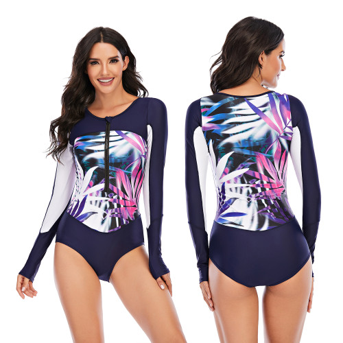 Leaf Print Patchwork Long Sleeve One Piece Swimsuit