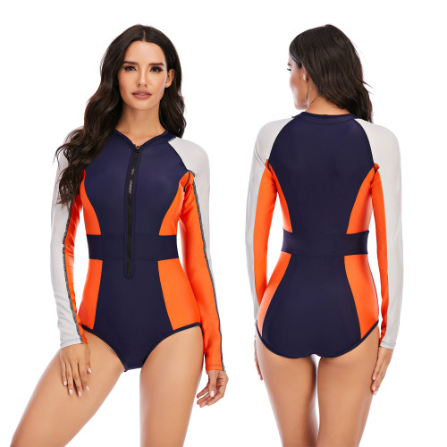 Color Block Zip Front Surfing Long Sleeve One Piece Swimsuit