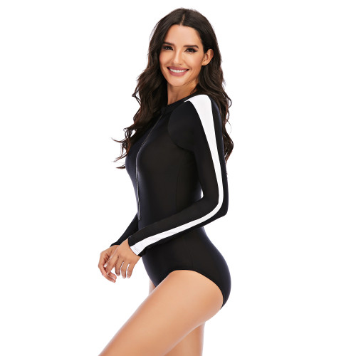 Black Surfing Long Sleeve One Piece Swimsuit with Side Stripes