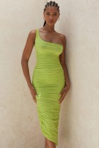 One Shoulder Green Ruched Midi Dress