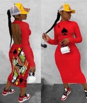 Sexy Poker Print Open Back Bodycon Midi Dress