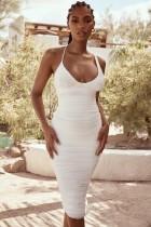 White V Neck Ruched Straps Midi Dress