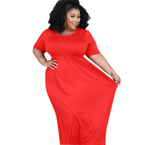 Plus Size Pure Red Casual Maxi Dress