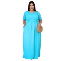 Plus Size Pure Blue Casual Maxi Dress