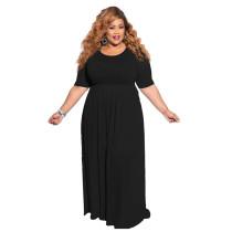 Plus Size Pure Black Casual Maxi Dress