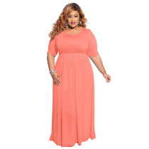 Plus Size Light Orange Casual Maxi Dress