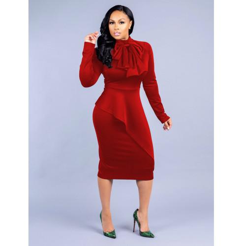 Bow Neck Red Long Sleeve Bodycon Peplum Midi Dress