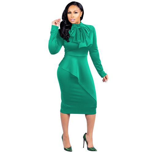 Bow Neck Light Green Long Sleeve Peplum Midi Dress