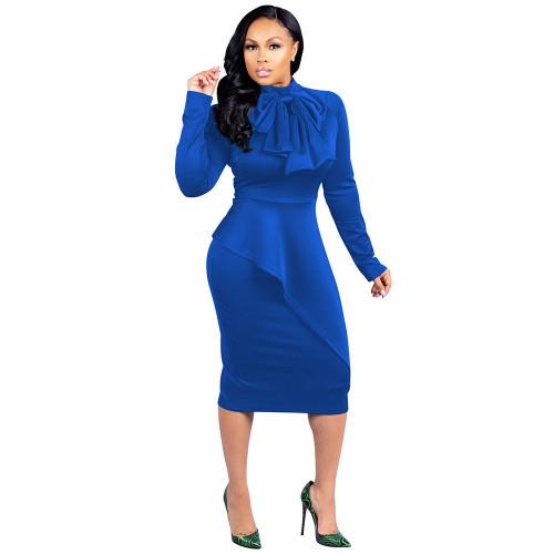 Bow Neck Blue Long Sleeve Bodycon Peplum Midi Dress