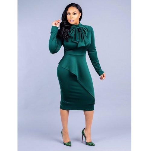 Bow Neck Dark Green Long Sleeve Peplum Midi Dress