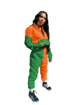 1/2 Zipper Two Tone Warm Sweatsuits with Front Pocket
