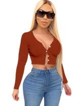 Solid Rib-Knit Long Sleeve Button Crop Top