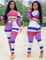Colorblock Tie Front Ribbed Crop Top and Pants Set