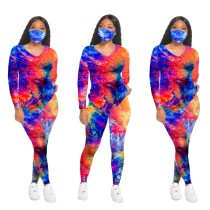 Tie Dye V-Neck Long Sleeve Tee and Pants Set with Masks