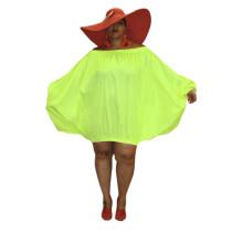 Plus Size Neon Loose Off Shoulder Dress