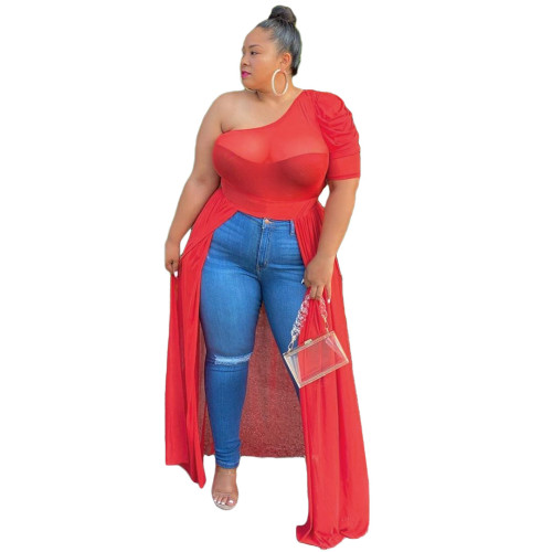 Plus Size Red See Through One Shoulder High Low Dress Top