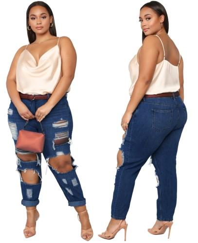 Plus Size Damage Holes Blue Jeans