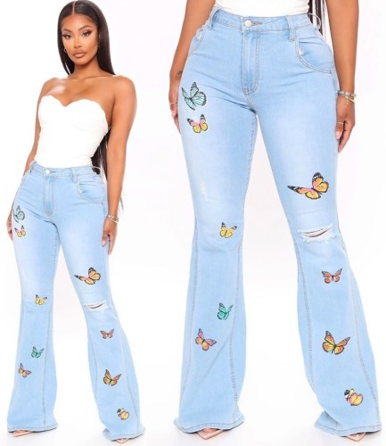 Plus Size Light Blue Embroidered Butterfly Flare Jeans