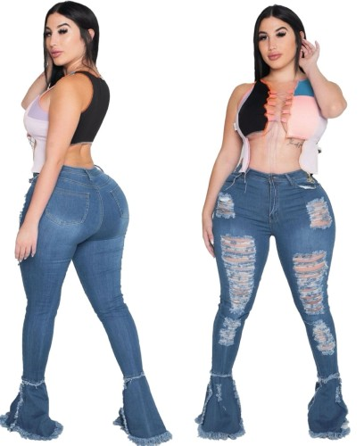 Plus Size Ripped High Waist Flare Bottom Jeans