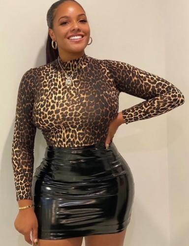 Black PU Leather High Waist Mini Skirt