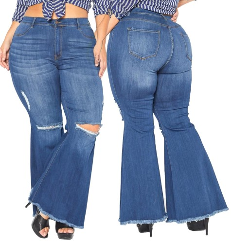 Plus Size Bell Bottom High Waist Ripped Jeans
