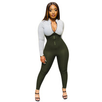 Ribbed Gray & Dark Green Splicing Zip Up Bodycon Jumpsuit