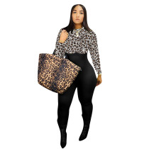 Contrast Leopard Print Zipper Back Bodycon Jumpsuit