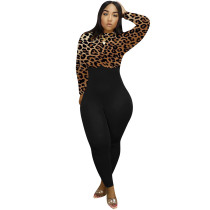 Brown Leopard Print Zipper Back Bodycon Jumpsuit