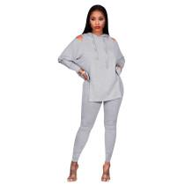 Gray Cold Shoulder Hooded Slit Two Piece Pants Set