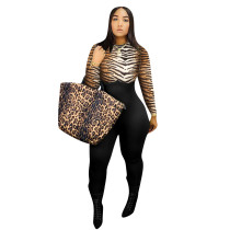 Tiger Skin Print Zipper Back Bodycon Jumpsuit