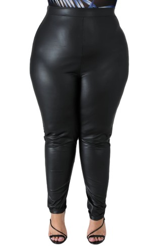 Plus Size Black PU Leather Fitted Pants
