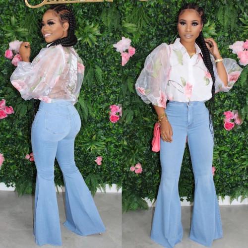 Plus Size Light Blue Bell Bottom Fashion Jeans