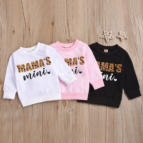 Long Sleeve O Neck Letter Print Girls' Sweatshirt