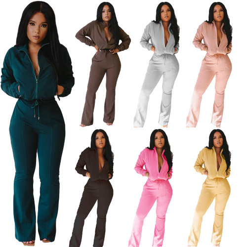 Solid Zipper Jacket and Flare Pants Casual Two Piece Outfits