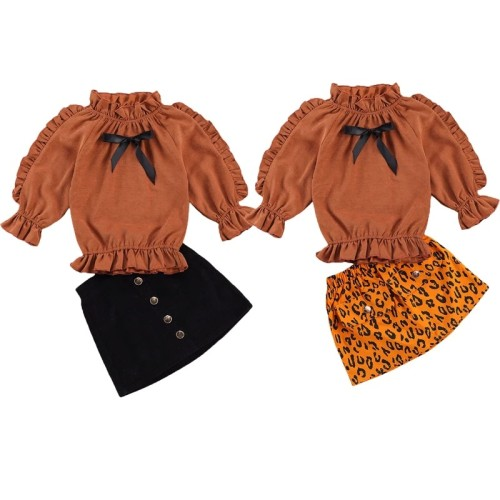 Sweet Little Girl's Ruffle Two-piece Skirt Set