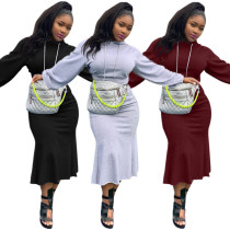 Solid Hooded Crop Top and Midi Skirt Set
