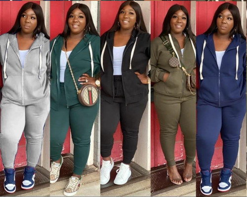 Plus Size Casual Solid Zipper Tracksuit