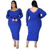 Plus Size Ribbed Pure Color Midi Dress